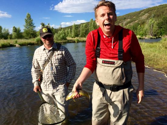 Park City On The Fly : Thrilled to catch trout! Couldn't miss with our guide, Lane.