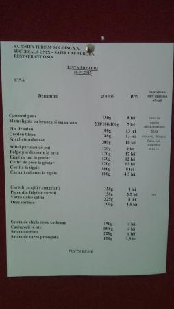 Cap Aurora, Rumania: the menu for the dinner