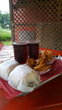 Allegan, MI: Menu board, burgers, fries,onion rings,root beer and a wicked storm