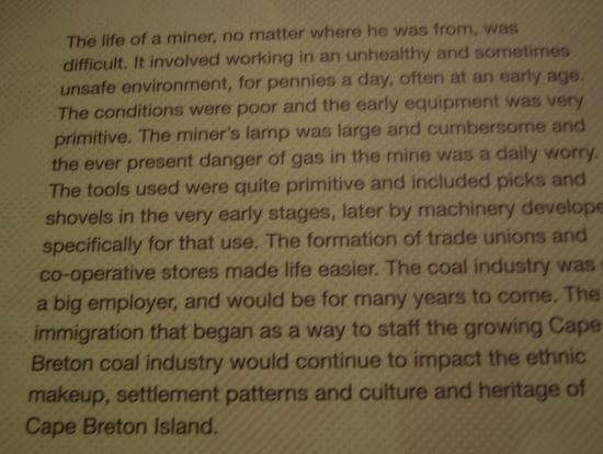 North Sydney Historical Society: conditions of Miners working for Dominion Mines