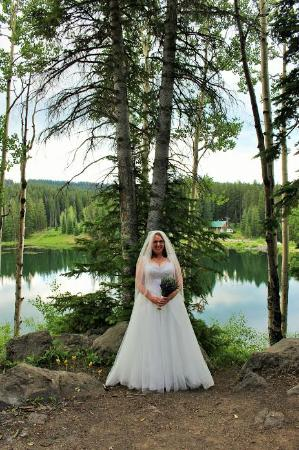 Palisade, CO: Bride, Amanda, with her beautiful Lavender Bouquet