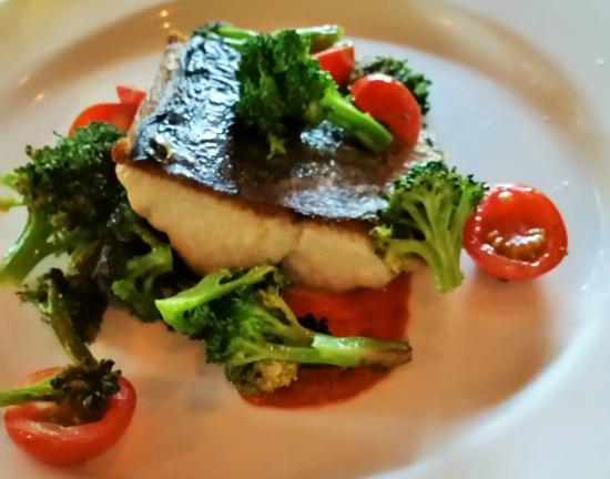 Williamstown, MA: Kingfish with a chorizo puree, charred broccoli, and cherry tomatoes.