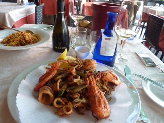 Hotel Leon d'Oro d'Orta: fried mixed seafood dinner