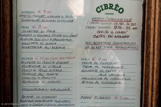 Cibreo Trattoria: Trattoria Cibreo - menu