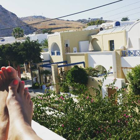 Narkissos Hotel: View from the terrace (pardon my feet!)