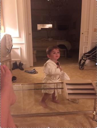 Four Seasons Hotel George V Paris : Our Boy Sporting his FS bathrobe