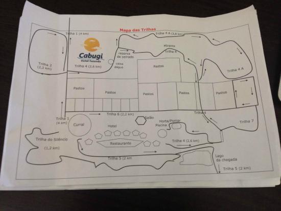 Hotel Fazenda Cabugi : Mapa das trilhas