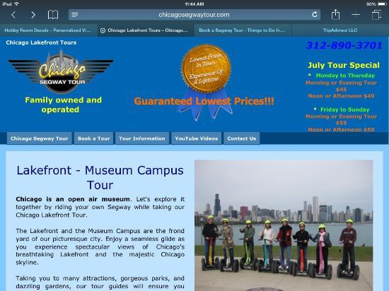 Chicago Segway Tour: Web site