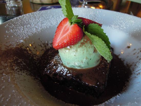 Chaldon Herring, UK: Chocolate brownie with mint choc chip ice cream