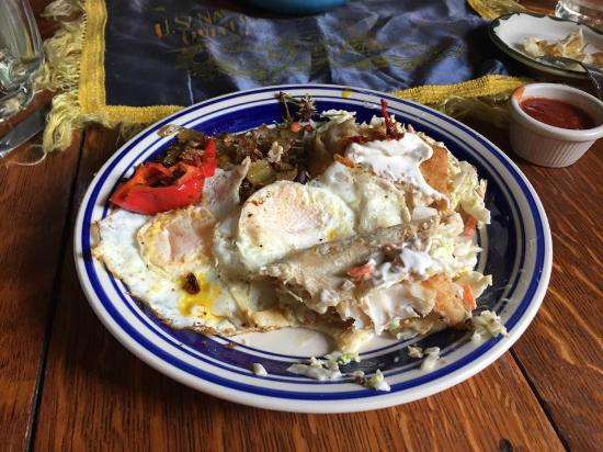 Our delicious fish taco breakfast at the Historic Anchor Inn in Lincoln City. Half-eaten, sorry,