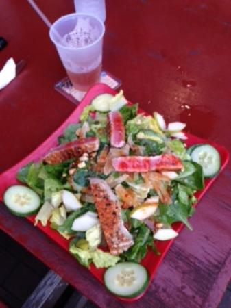 Island Time Pub: Fresh, crunchy salad, with fresh grilled tuna.