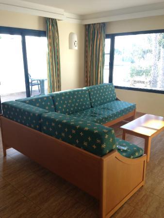 Living area, sofa turns into a sofa bed