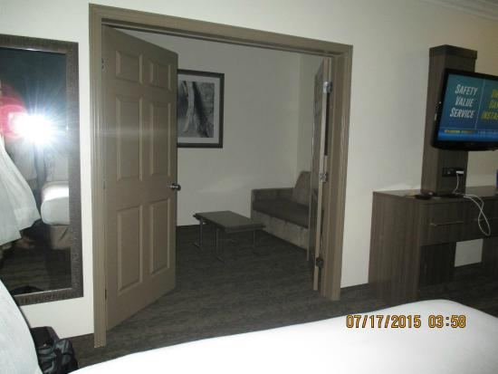 Holiday Inn Express & Suites: The large double doors into the small living room.