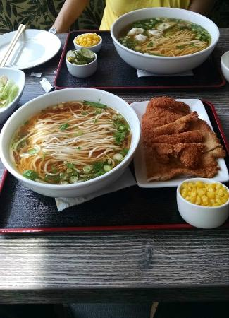 Elegant Guppy House: Pork Cutlet And Noodles And Dumplings And Noodles