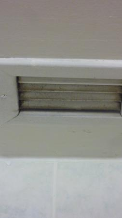 Days Inn St. Catharines Niagara: Greasy dirt on louvers of vent over the tub..see where my finger dragged along it?