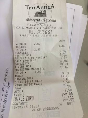 Baronissi, Italië: Il conto