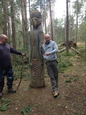 Bennachie Hill Walks: Wooden carving on the trail