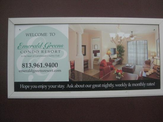 Emerald Greens Condo Resort: Advertisement on side of building