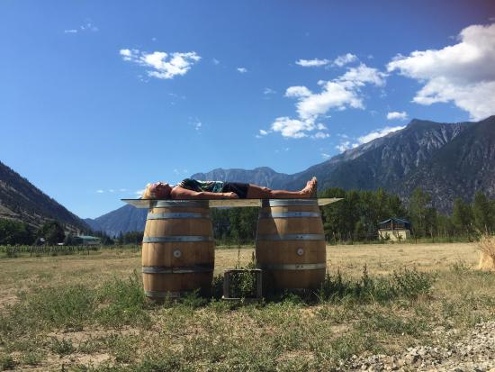 Cawston, Canada: see the SLEEPING LADY (in the mountains behind) and me sleeping emulating the range LOL