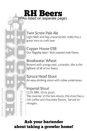 Rock Harbor Pub & Brewery: Our Beer