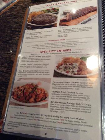 BJ's Restaurant & Brewhouse: Menu as of July 2015