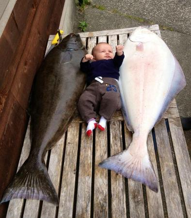 Salty Dog Fishing Charters: Baby Matteo and two 40lb halibut