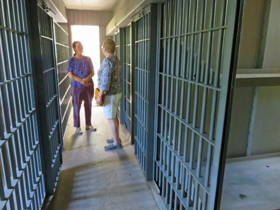 Historic Old Pecos County Jail: Tour guide shows us the old jail