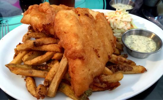 Fish on Fifth: Halibut and chips.