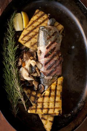 Il Piatto Italian Farmhouse Kitchen: Proscuitto Wrapped Trout with Grilled Polenta