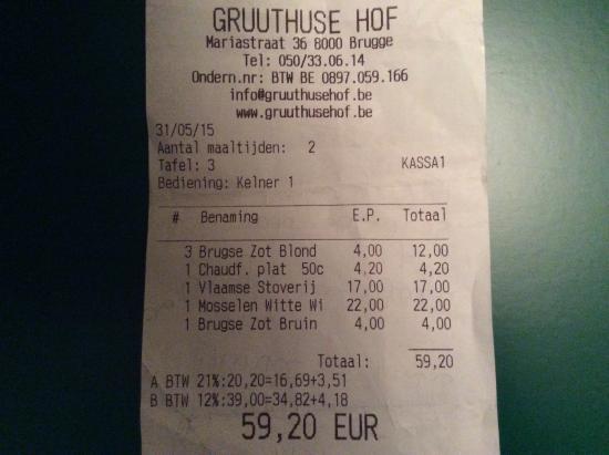 Gruuthuse Hof: Preço honesto!
