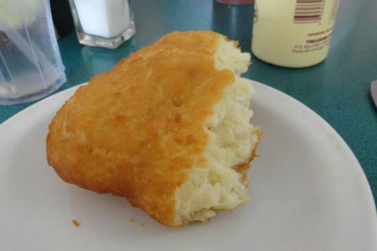 Mom's Cafe: Half a scone: can you see how light and airy it is?