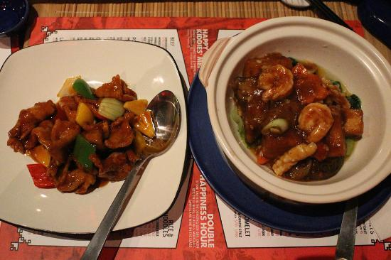 Happy Chappy Chinese Sweet And Sour Pork And House Made Silken And Tofu With Seafood