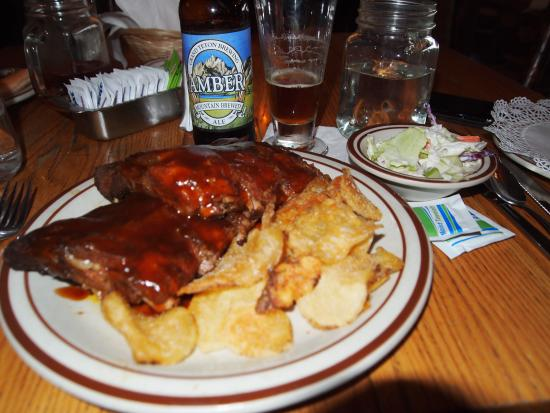 Roosevelt Lodge Dining Room: Half-rack of barbecue ribs at Roosevelt dining room.