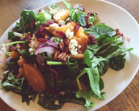 Half order of the Caramelized Peach Salad Yummy and fresh