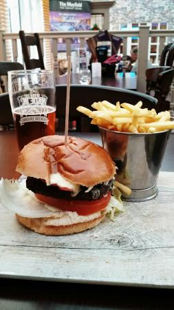 Seamer, UK: Bacon and cheese burger with fries and a pint of beer