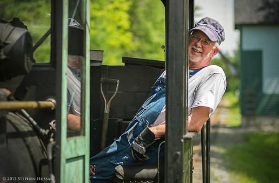 Wiscasset, Waterville and Farmington Railway Museum: Fireman Gordon Cook keeps a close eye on the tracks ahead.