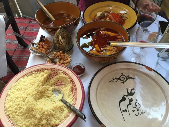 La Pigeot : Sardine au citron confit et briouat de crevettes. Couscous kefta en sauce