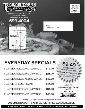 Paladino's Cicero Pizza: Specials
