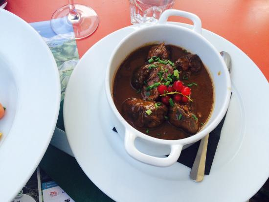 The Auberge du Grand Paradis: Our food & view of the Resto.