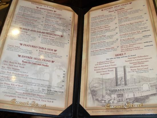 Canal Street Steak & Seafood: Menu