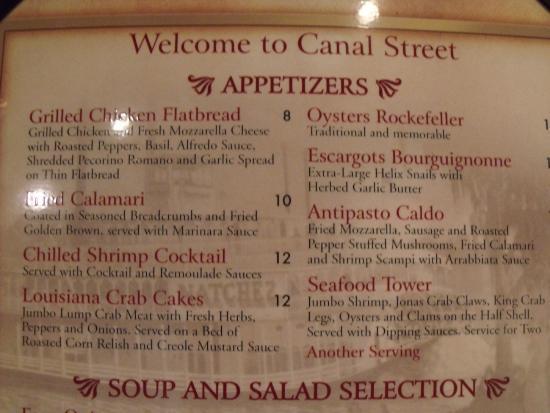 Canal Street Steak & Seafood: menu