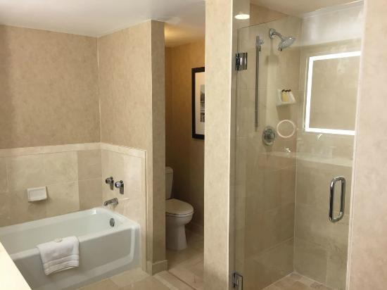 Large cottage bathroom with full bath, separate shower ...