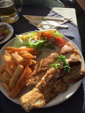 Grilled Hake - chips - salad €7.50