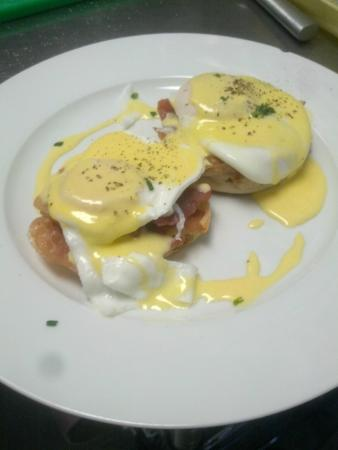 Staunton, VA: House version of Eggs Benedict.  Ours give offers Prosciutto or Thick Cut Pepper Bacon!