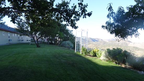 ‪‪Virginia City Inn‬: Gorgeous view from backyard of Virginia Inn. Beautiful garden. Romantic swing with a canopy of f‬