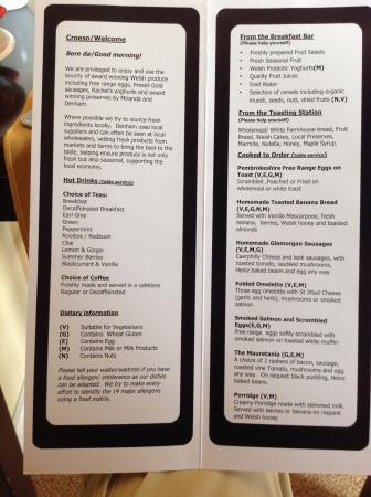 The Ferryboat: The breakfast menu