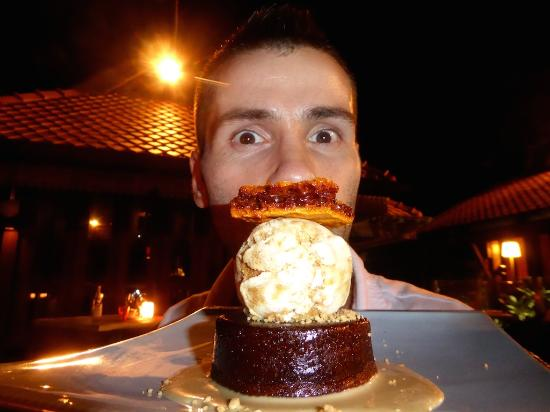 Ikan-Ikan : Sebastien about to gorge on this delicious honeycomb cake with ice cream dessert.