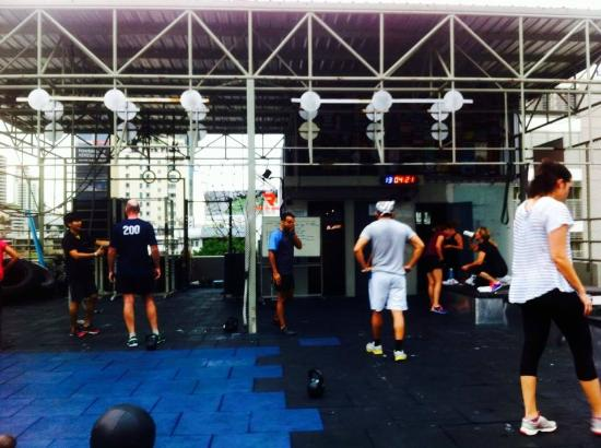 Friday 6AM Bootcap on the Rooftop of Aspire gym.