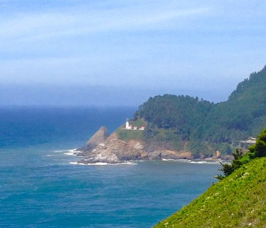 Florence, OR: View of the lighthouse from Sea Lion Caves and Heceta Head Beach scenes