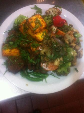 The Bengal Lancer: Loved this bespoke vegetarian dish prepared. Paneer tikka with sizzling mix veg. Brilliant combi